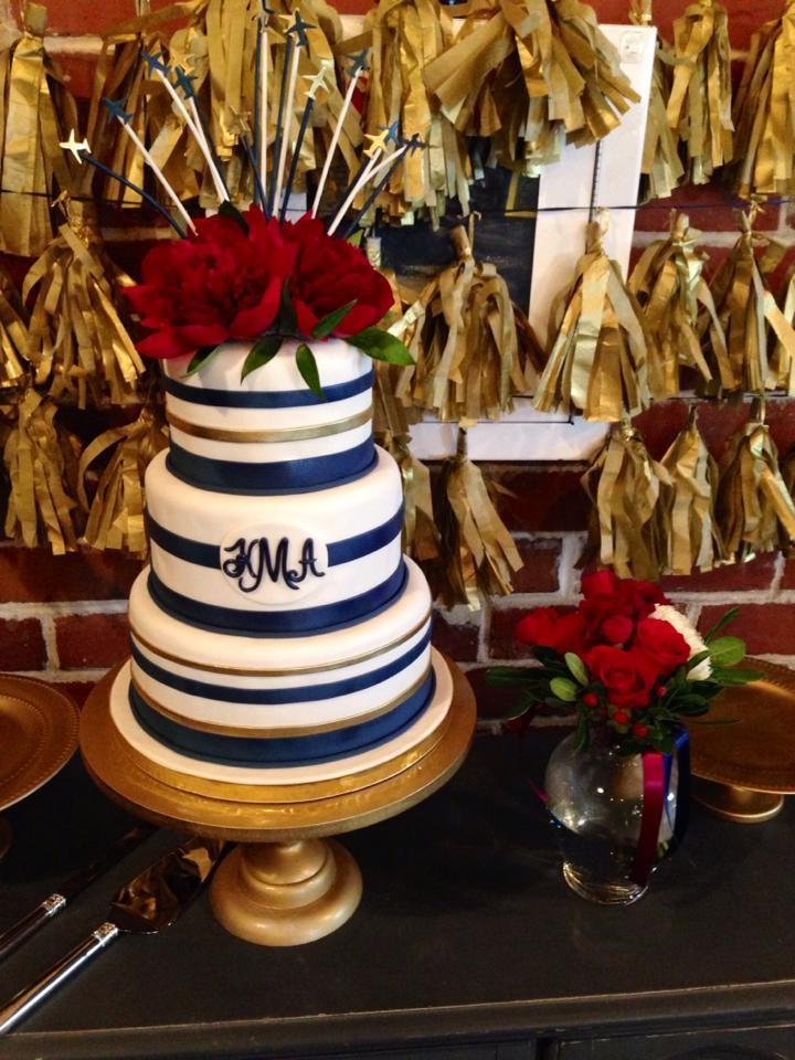 blue & white striped fondant wedding cake with sugar roses