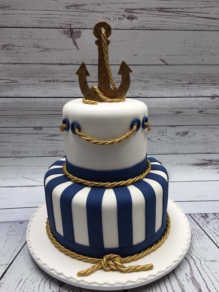 Navy & white Striped Nautical Wedding