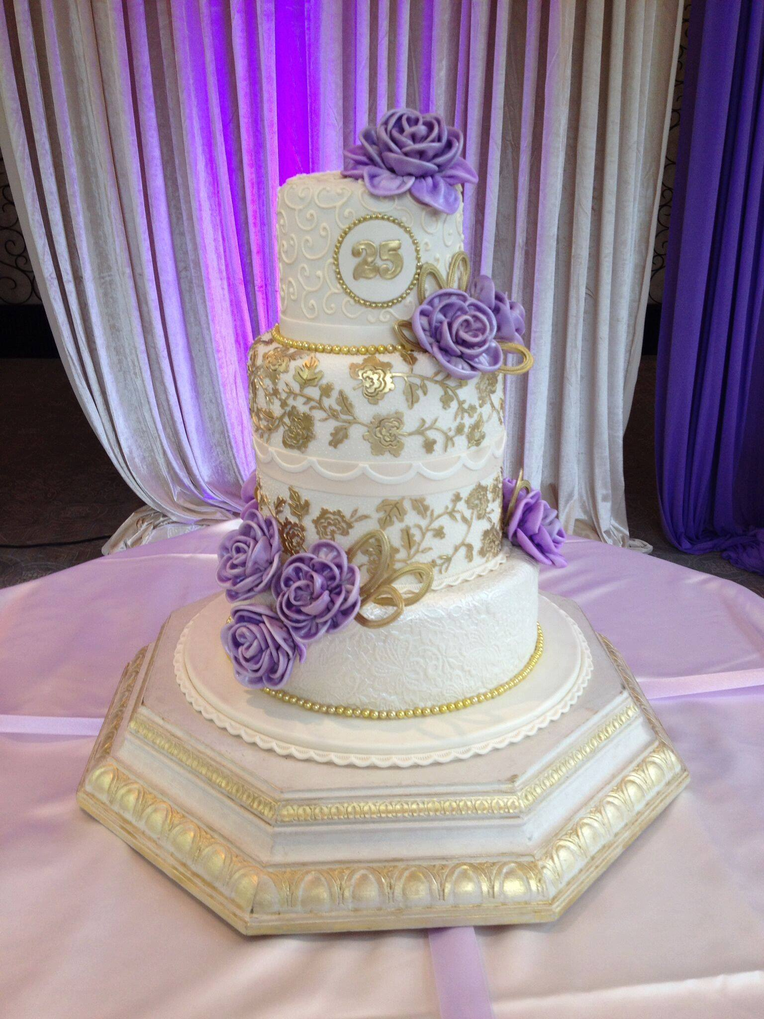 White & Gold Wedding with Purple Sugar Flowers