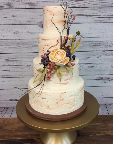 White birch tree wedding cake
