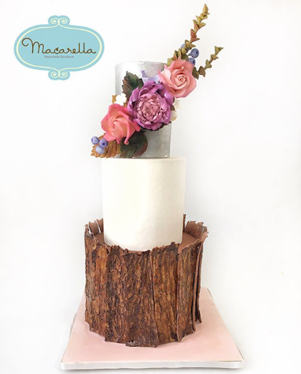 Rustic bark and white fondant wedding cake