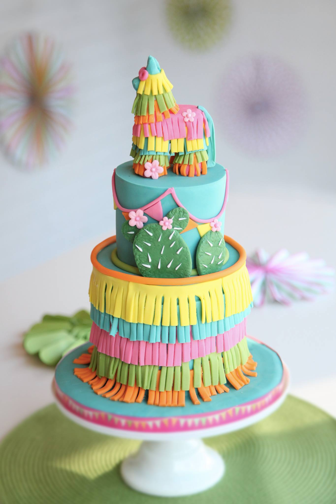 Colorful piñata fondant birthday cake