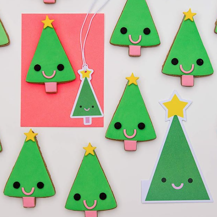 Kawaii Christmas tree cookies
