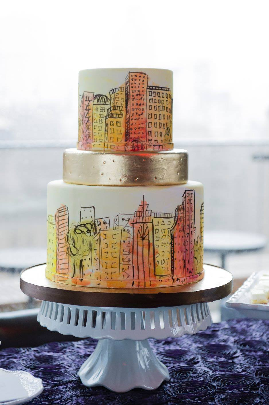 White with Orange with hand painted cityscape