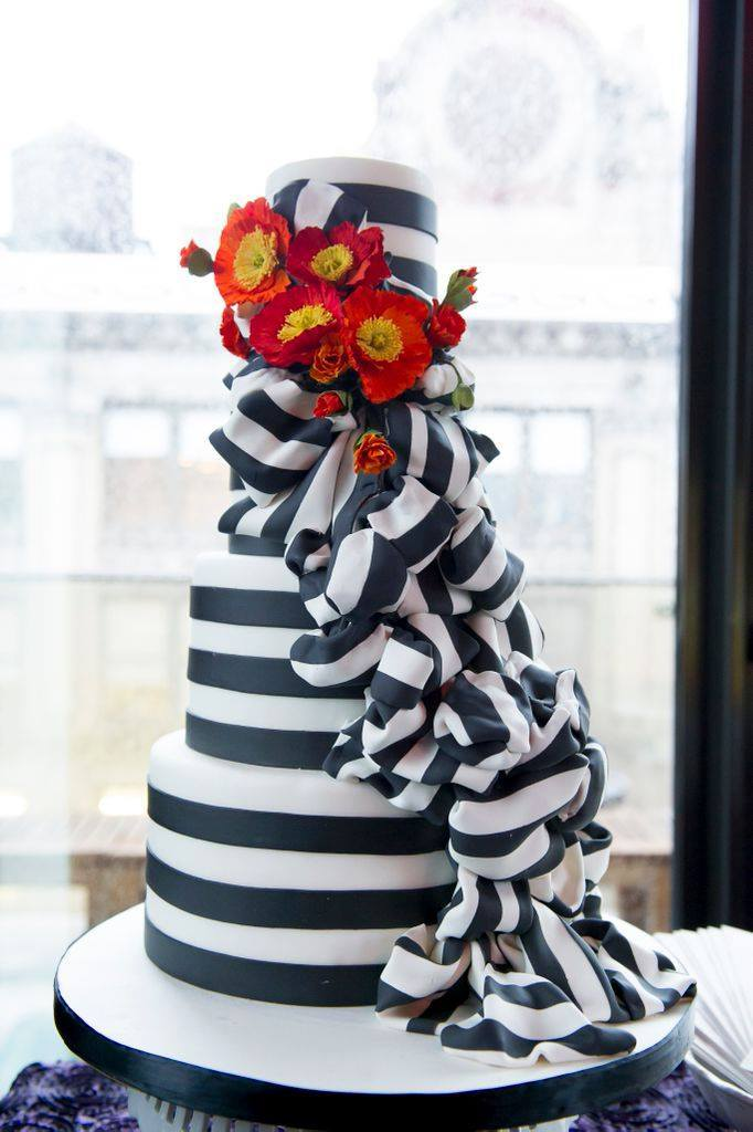 Black and white striped fondant wedding cake