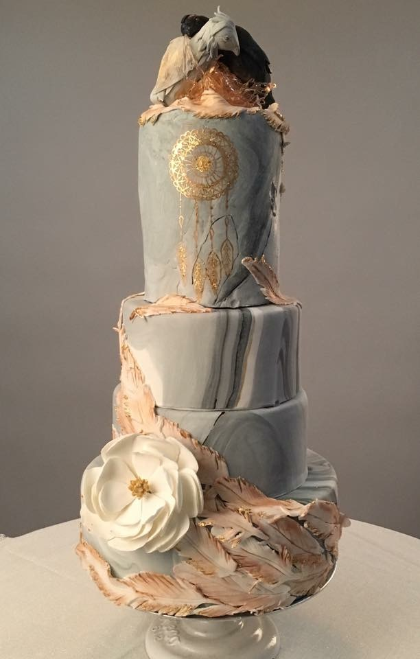 Boho feather and bird themed gray wedding cake