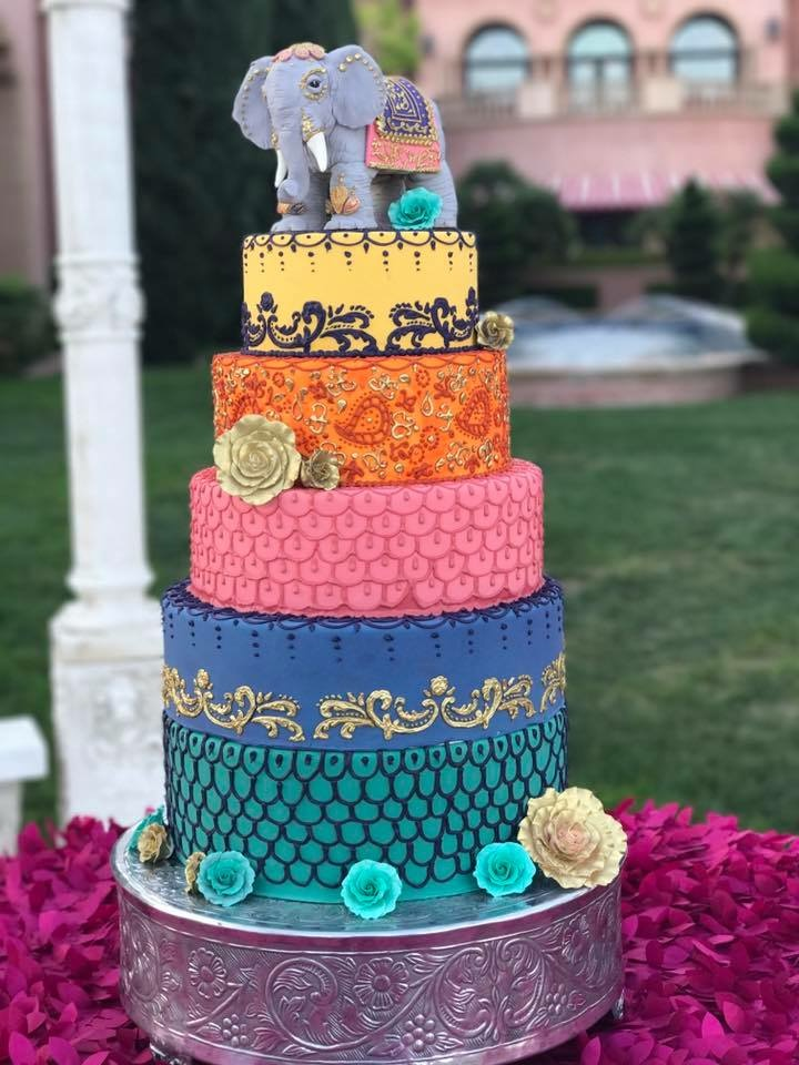 Dewali inspired Indian wedding cake with elephant topper