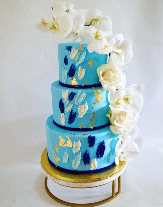 Bright blue fondant wedding cake