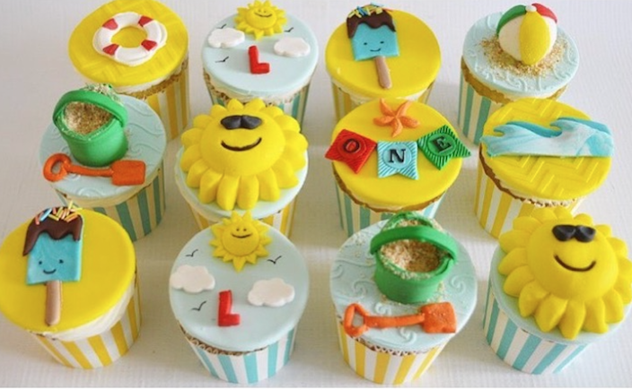 Beach themed birthday fondant cupcakes