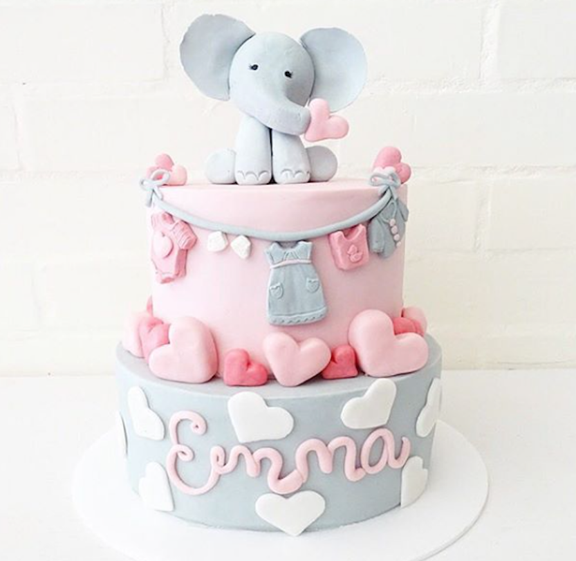 Light pink and gray elephant fondant cake