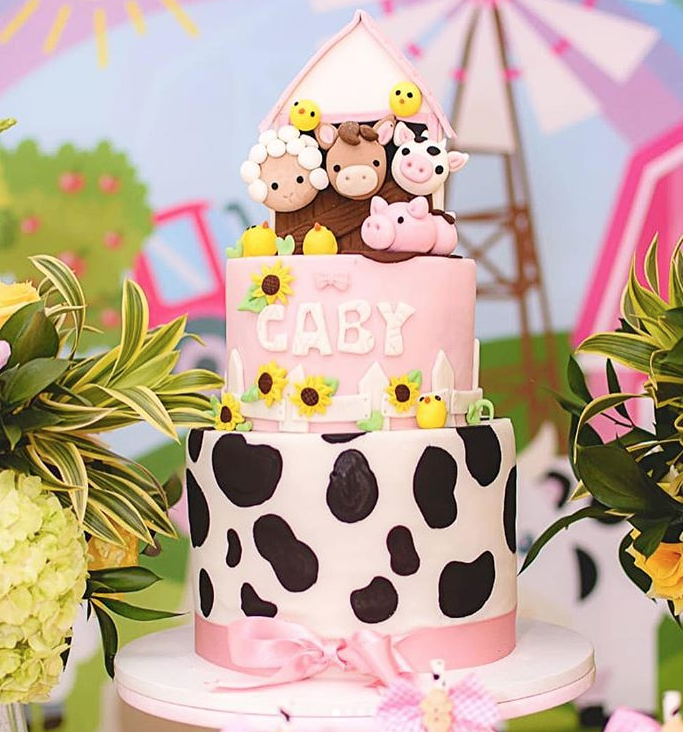 Farm animal fondant birthday cake