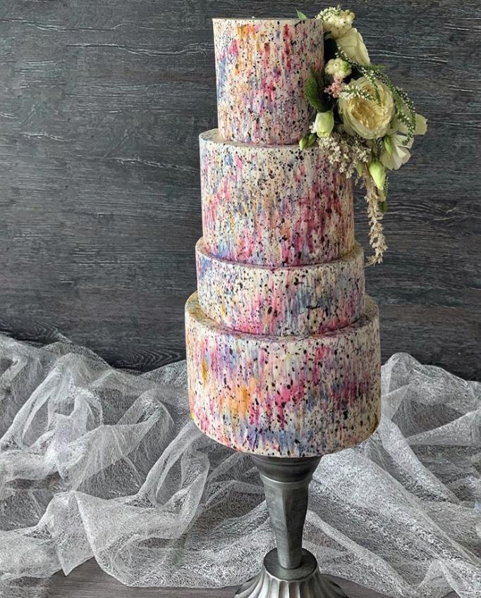 Graffiti painted fondant wedding cake