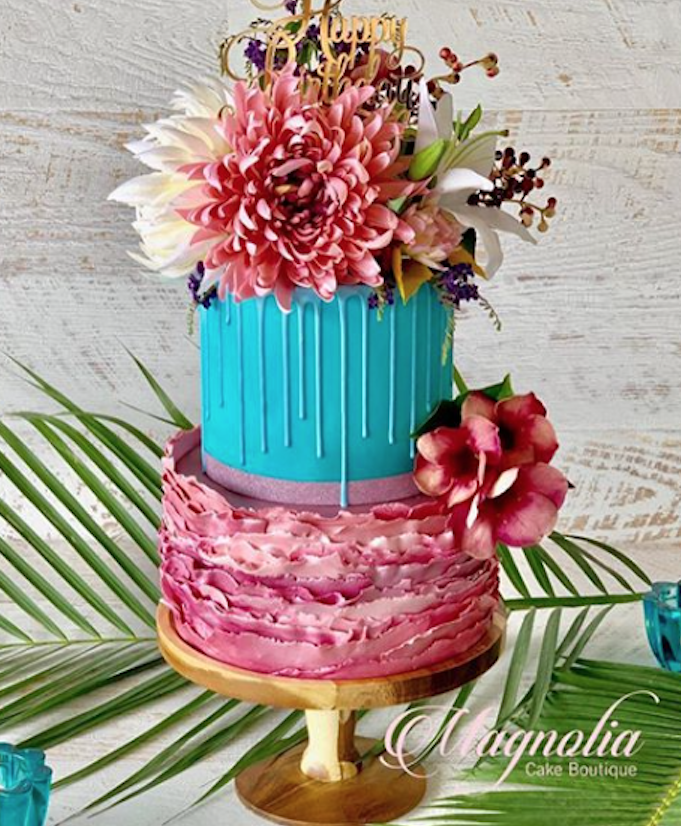 Bright pink and blue fondant wedding cake