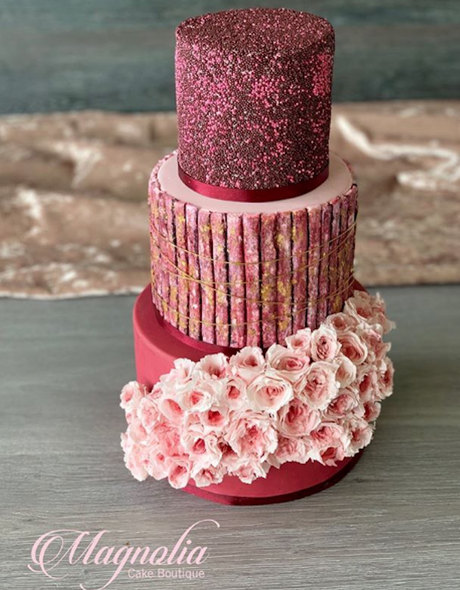 Burgundy and red fondant textured wedding cake