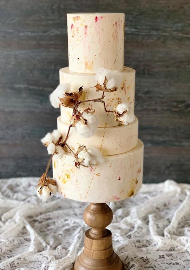 Rustic ivory fondant wedding cake