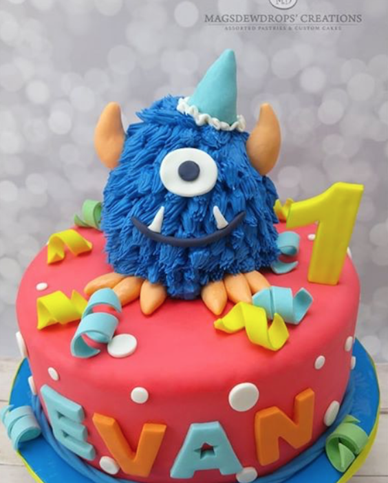 Colorful Monster 1st Birthday fondant Cake