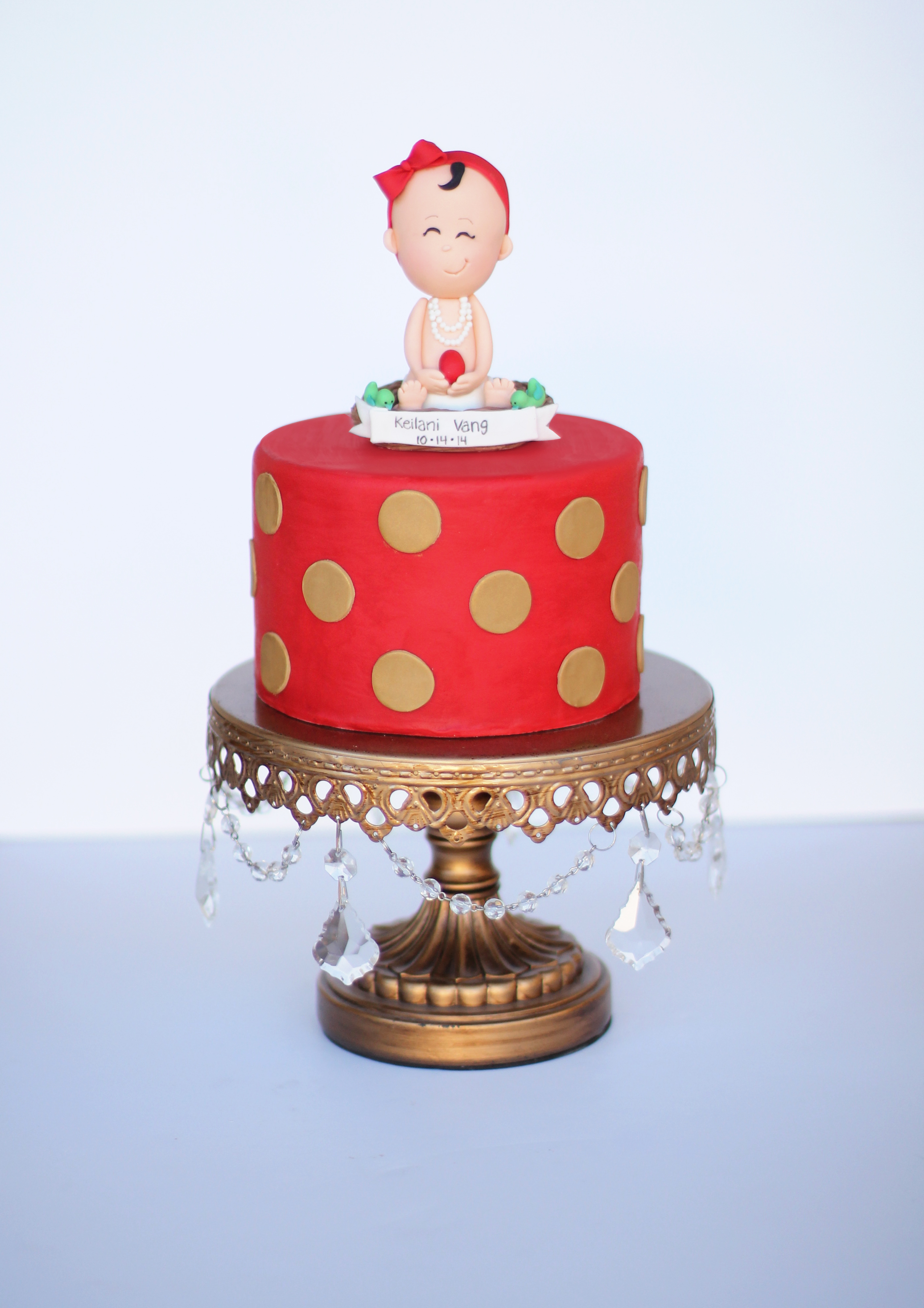 Red and gold polka dot baby girl cake