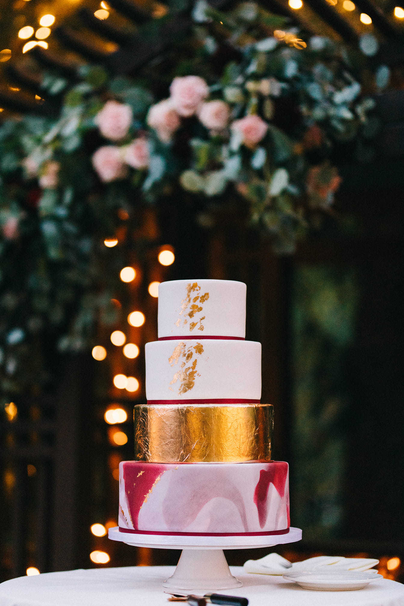 Pink with gold shine fondant wedding cake