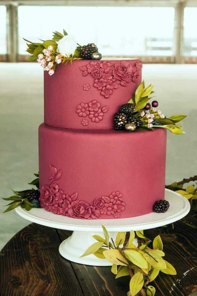 All burgundy textured fondant wedding cake