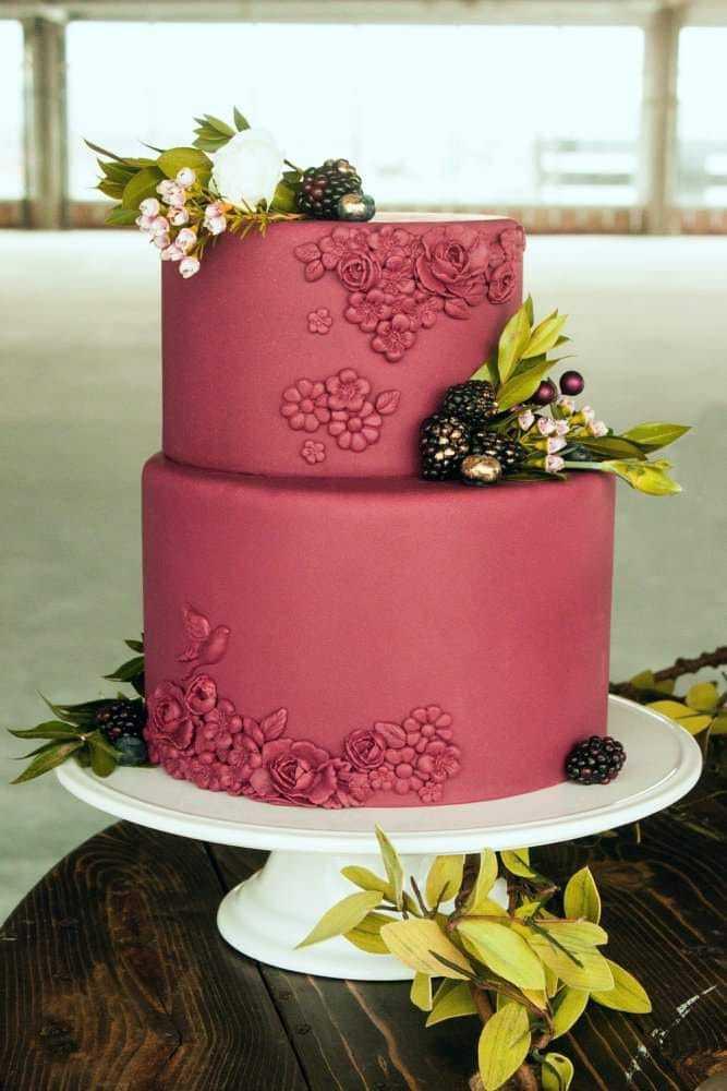 All burgundy textured fondant wedding cake