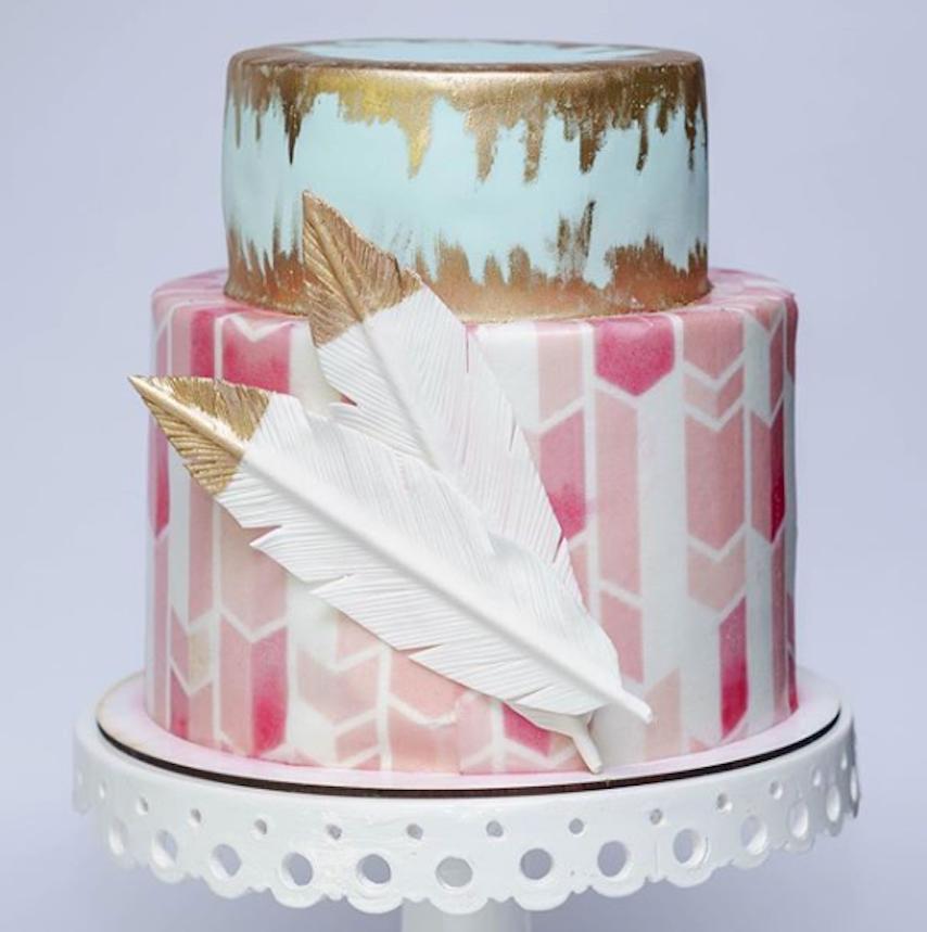 Boho patterned fondant cake