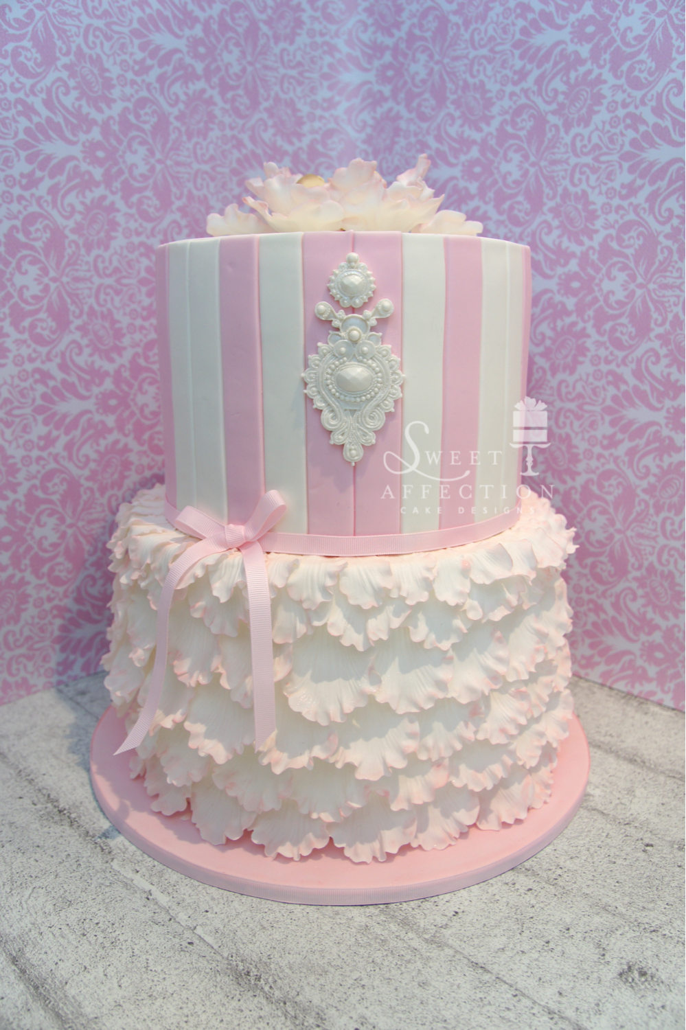 Pink and white ruffle birthday