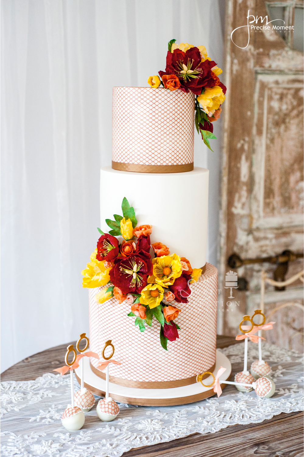 White and orange wedding