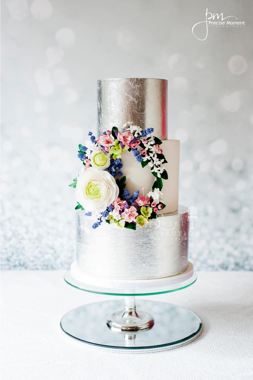 Silver and White fondant wedding cake