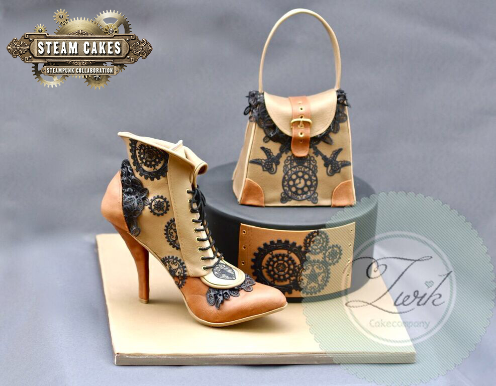 Steampunk inspired fondant shoe and handbag cake