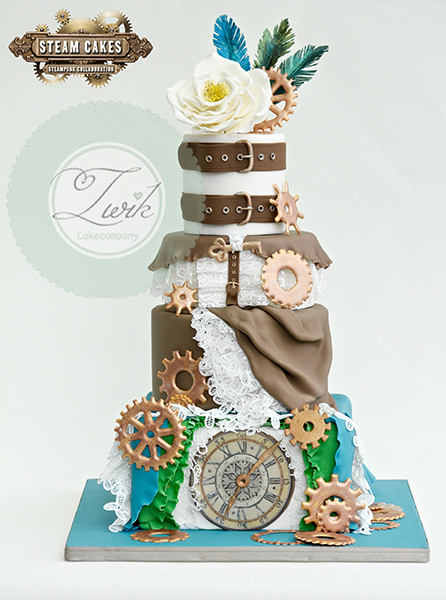 Gears and gauges fondant cake
