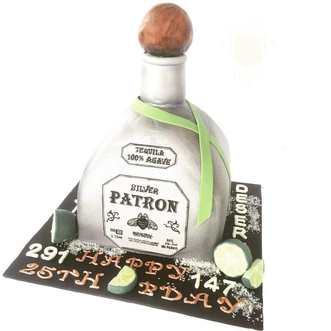 Patron Tequila shaped fondant Birthday Cake