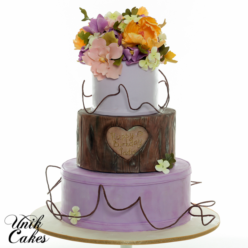 Purple & Bark Wedding with Sugar Flowers