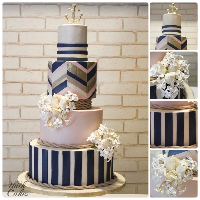 Nautical Striped Wedding Cake