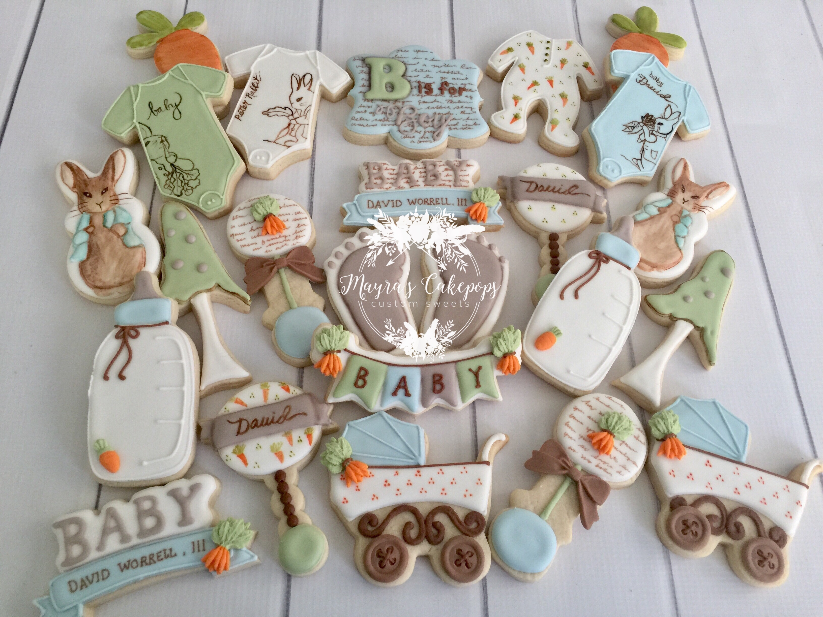 Peter Rabbit Baby Shower Cookies