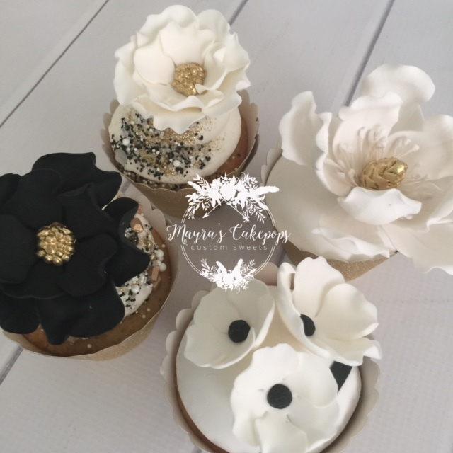 Black & White Gum Paste Flower Cupcakes