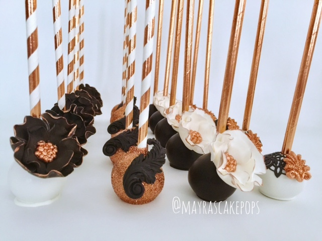 Black & Gold Cake Pops decorated with fondant
