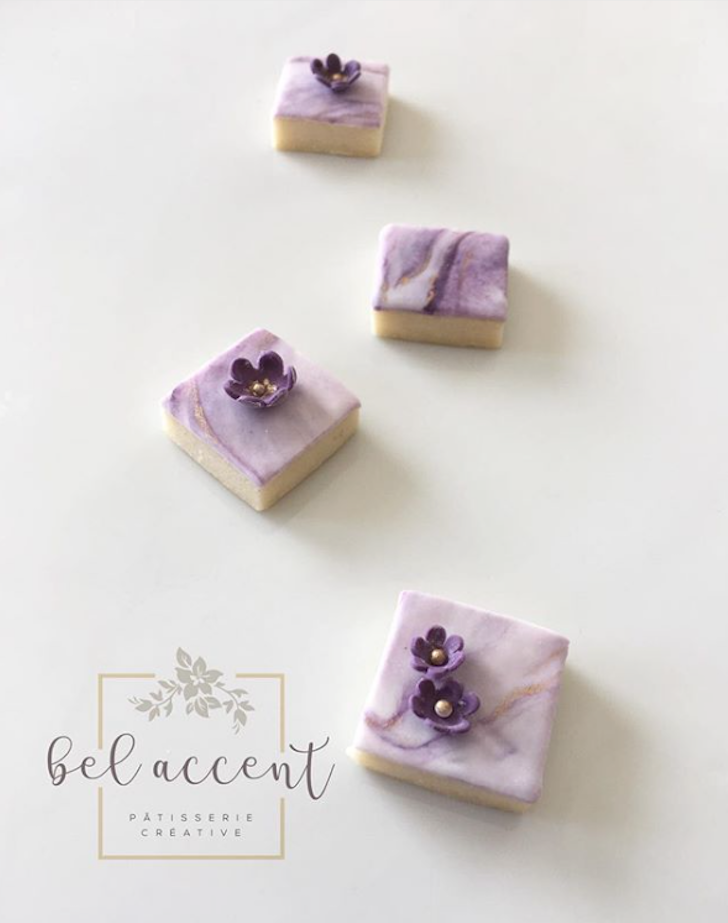 Mini purple fondant cookie