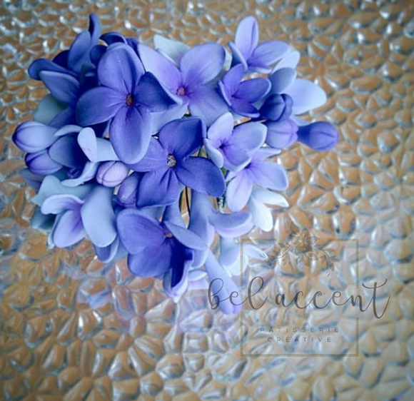 Sugar Lilac bouquet - blue sugar flowers