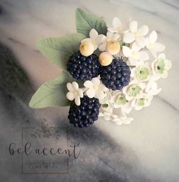 Sugar flower bouquet with blackberries