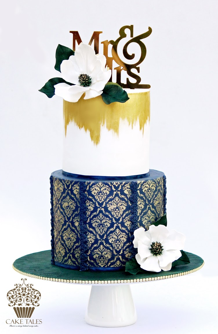 Navy blue with gold damask pattern wedding