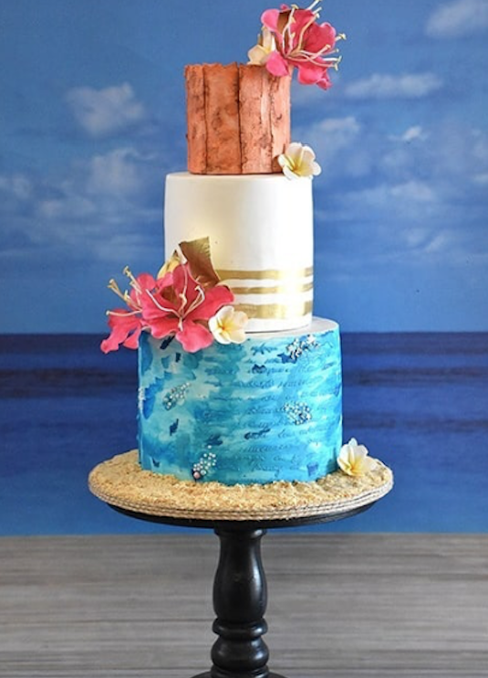 Blue with white fondant tropical beach cake