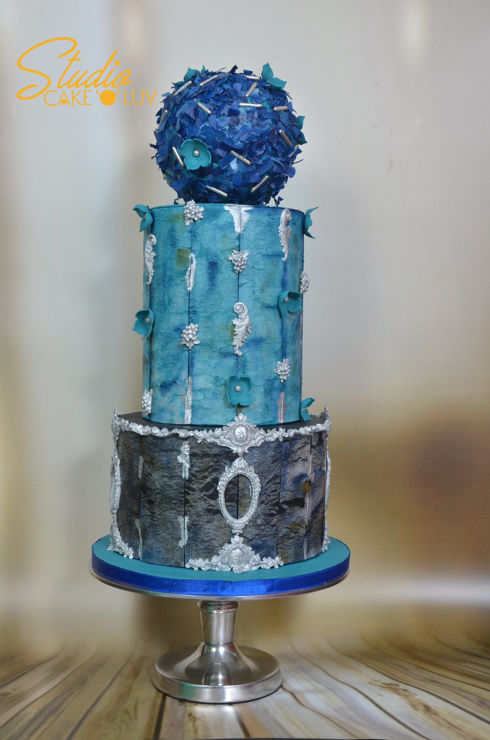 Modern blue and gray fondant wedding cake