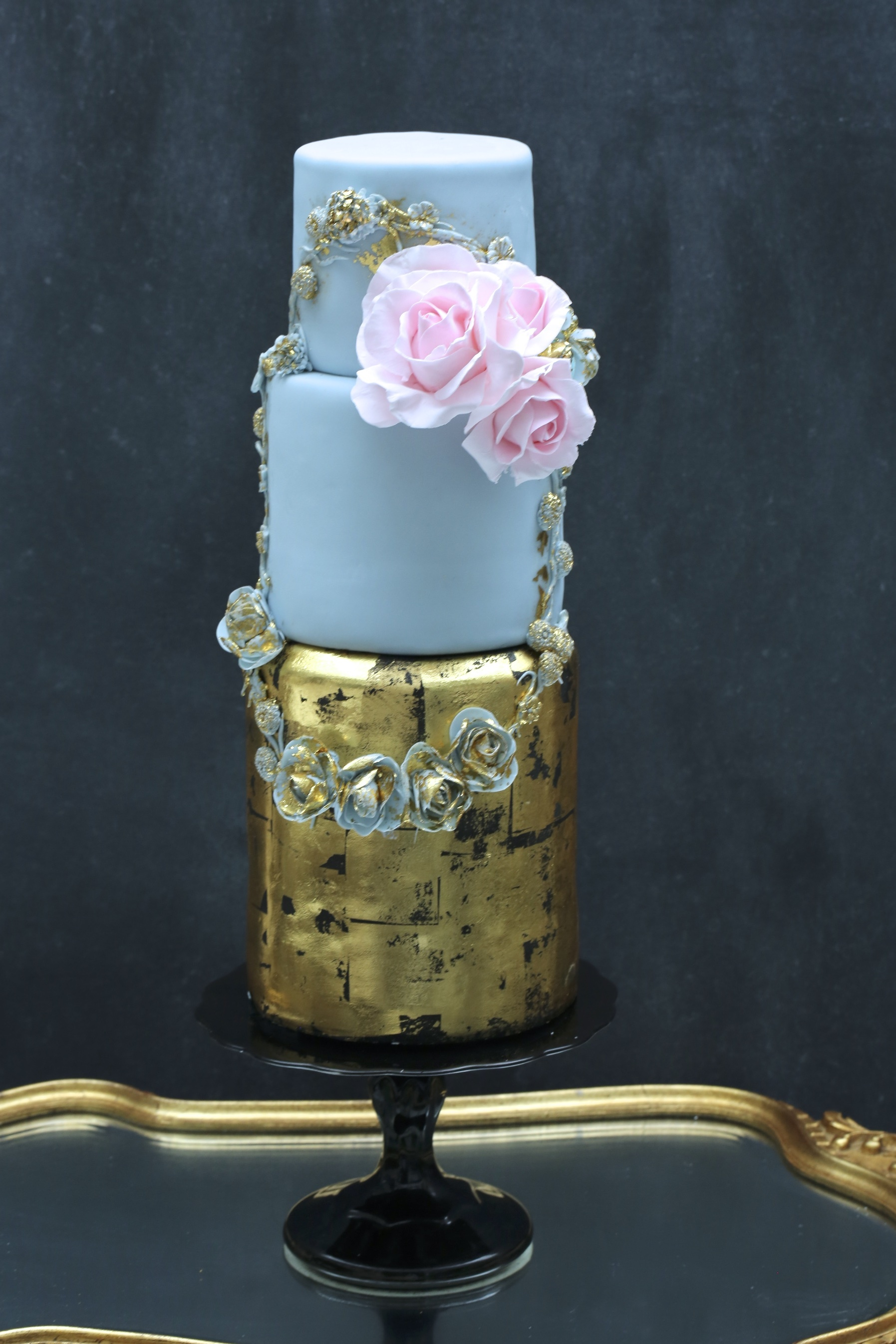 Baby Blue & gold Victorian fondant wedding cake