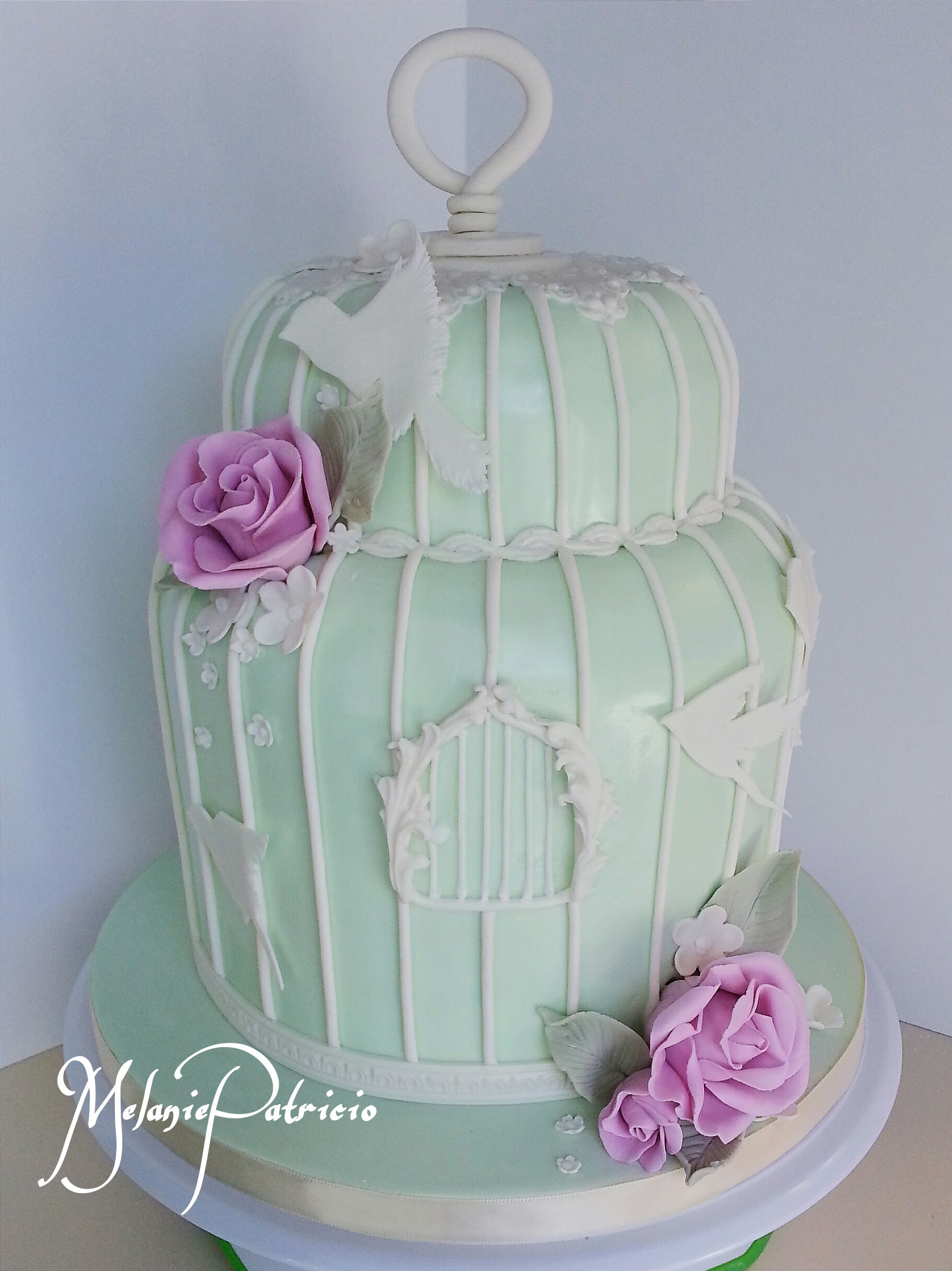 Green Birdcage Wedding Cake