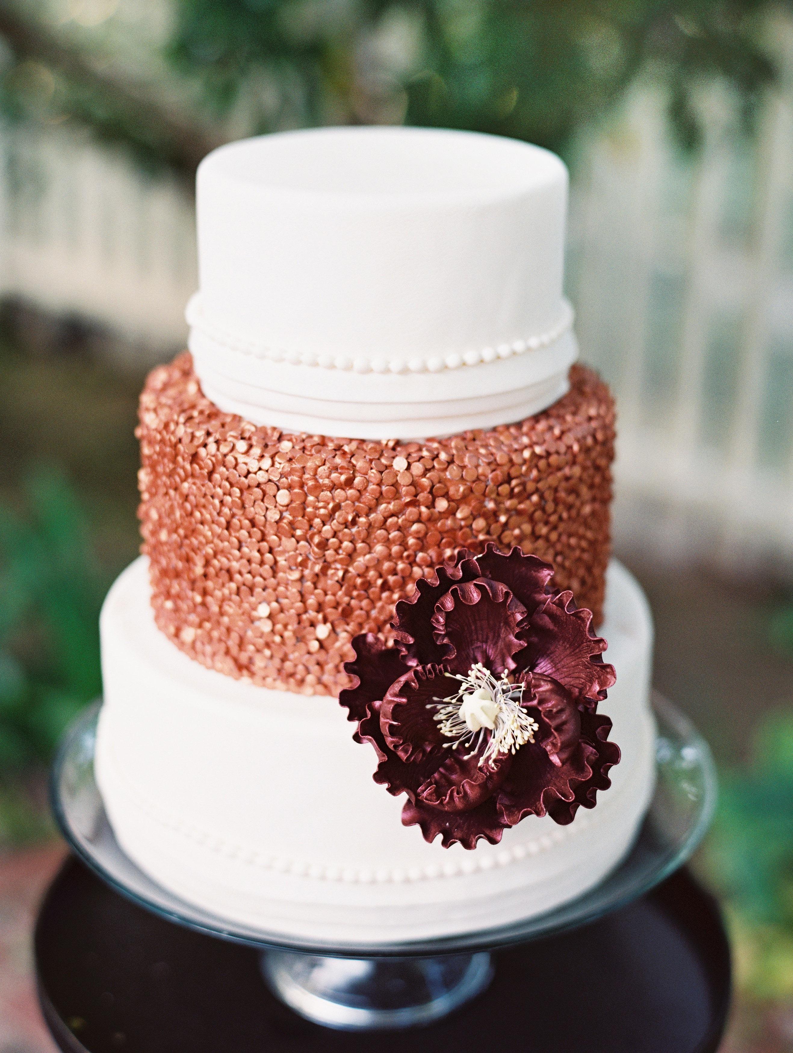 White and copper fondant wedding cake