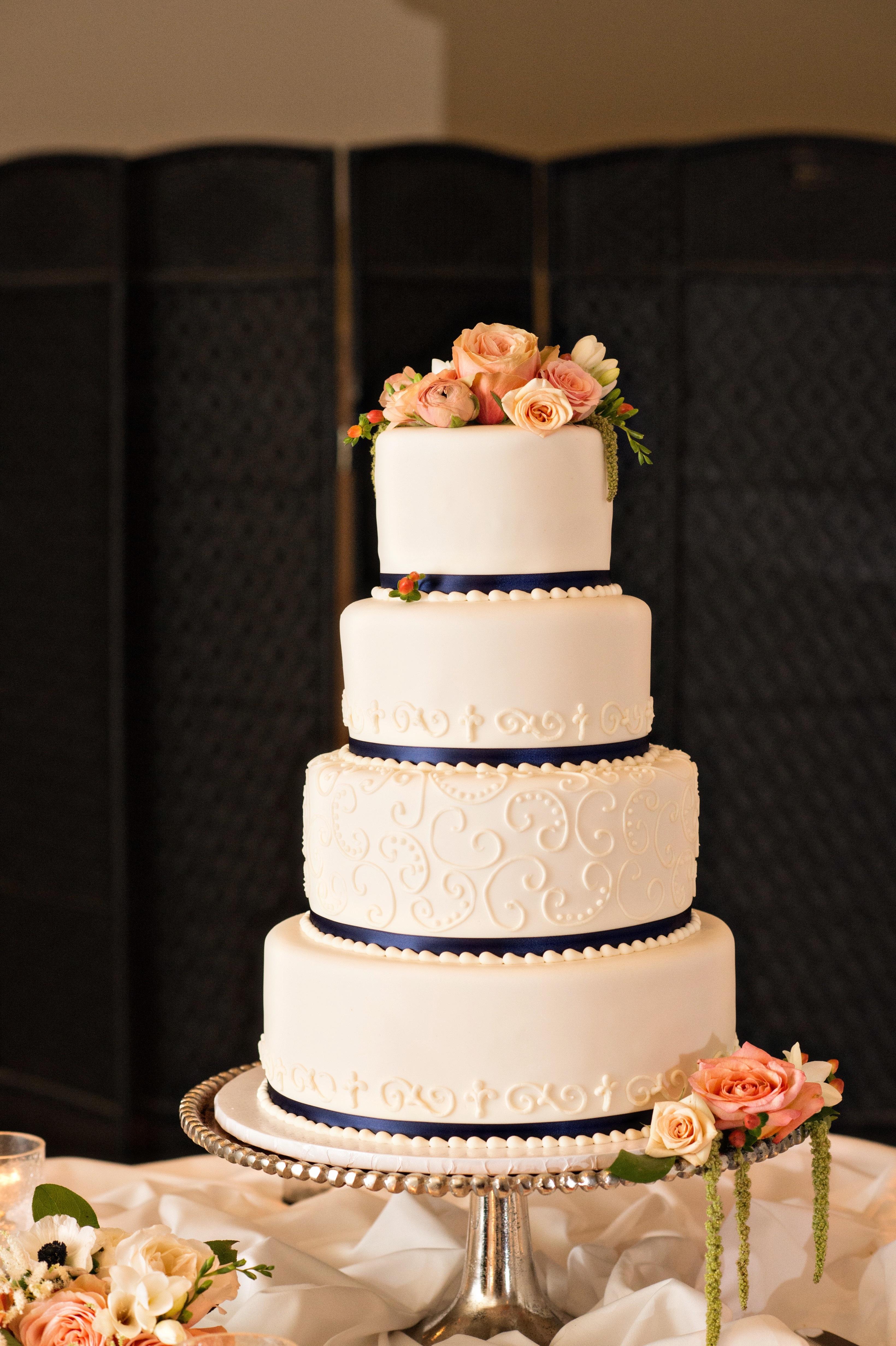 White stenciled wedding