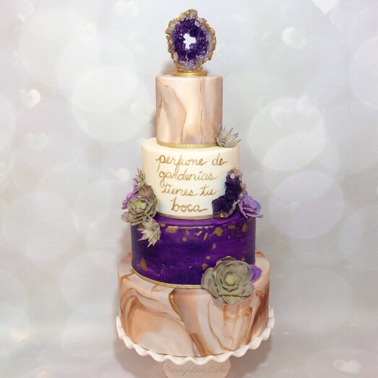 Purple with gray marble rock geode wedding cake