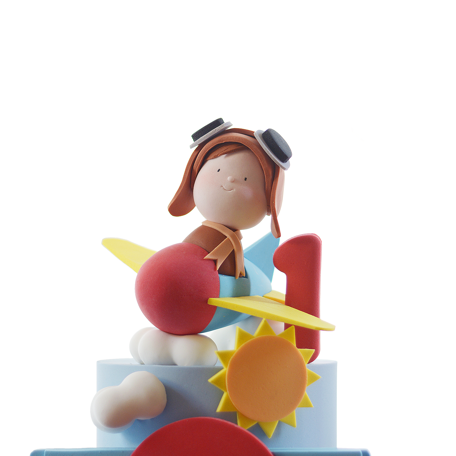 Airplane pilot fondant figurine