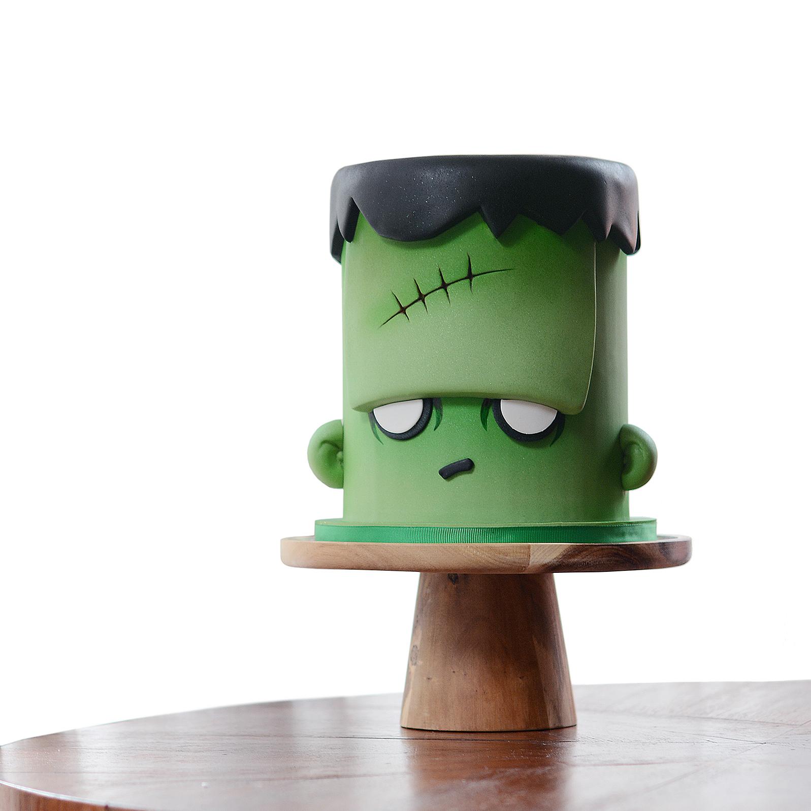 Green fondant Frankenstein cake