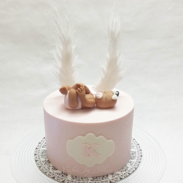 Mini pink girls baby shower cake